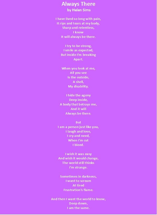 Helen&#39;s #poem &#39;Always There&#39;. Written to raise awareness of #Disability   #TakingSteps #helenswriting #DisabilityRights  #RetweeetPlease <br>http://pic.twitter.com/tEfw1KmyzZ