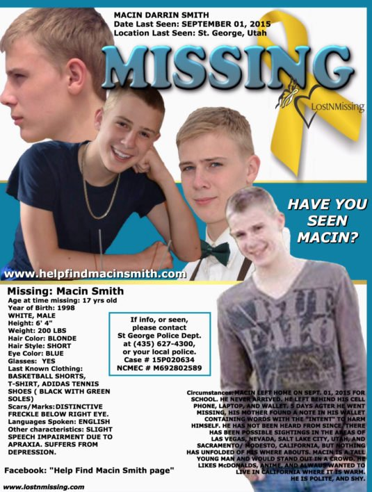 MISSING... Since 09.01.2015  Macin Darrin Smith, from St George Utah... #MacinDarrinSmith #MacinsArmy #Utah #Missing #StGeorge <br>http://pic.twitter.com/UdG8qiAn1j