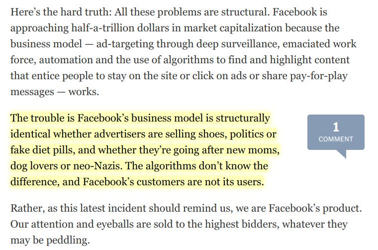 #Facebook&#39;s &quot;scandals&quot; aren&#39;t bugs, they&#39;re features of how its business model works &amp; how it operates.  https://www. nytimes.com/2017/09/23/opi nion/sunday/facebook-ad-scandal.html &nbsp; …  by @zeynep<br>http://pic.twitter.com/7HLHTNthgN
