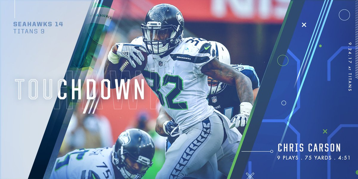 Touchdown Seahawks! Chris Carson bulls his way in for the score!   #SE...