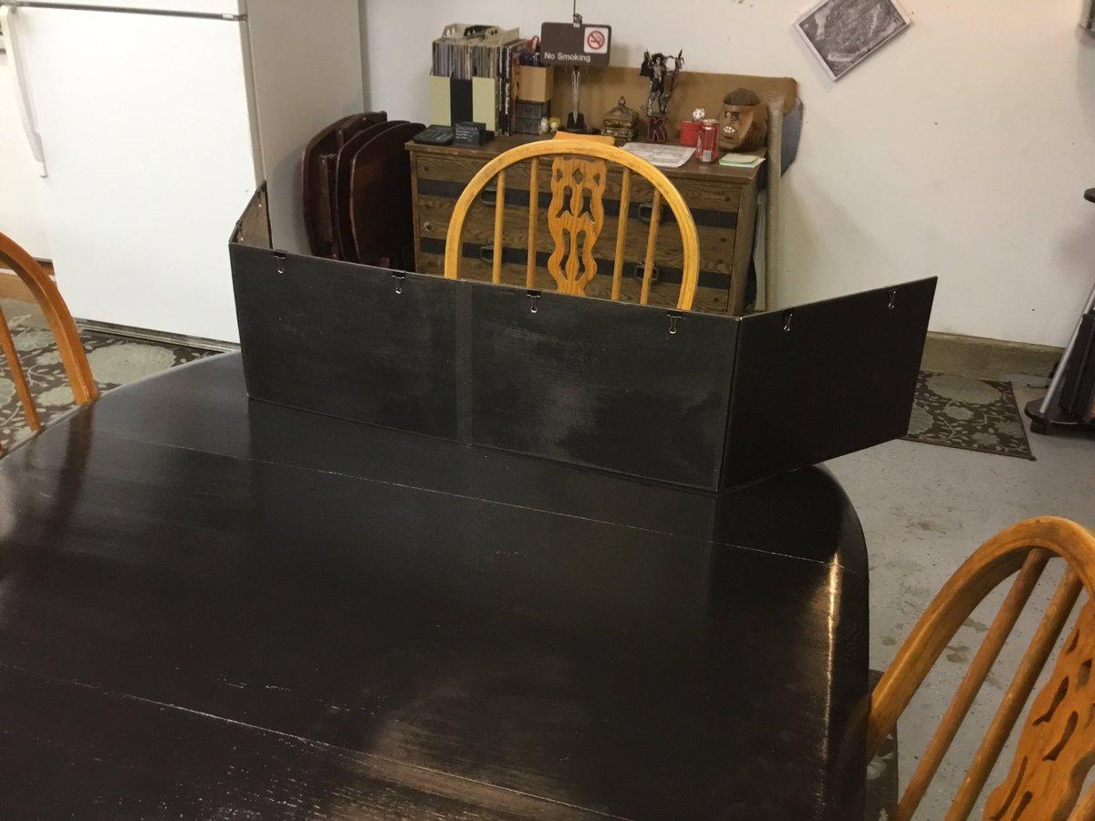 Custom XL GM Screen. Painted with chalkboard paint. 1.5&quot; taller &amp; 15&quot; longer than D&amp;D&#39;s screen. #DnD #WoD #RPG #RoleplayingGames<br>http://pic.twitter.com/eLCG7PsKLP