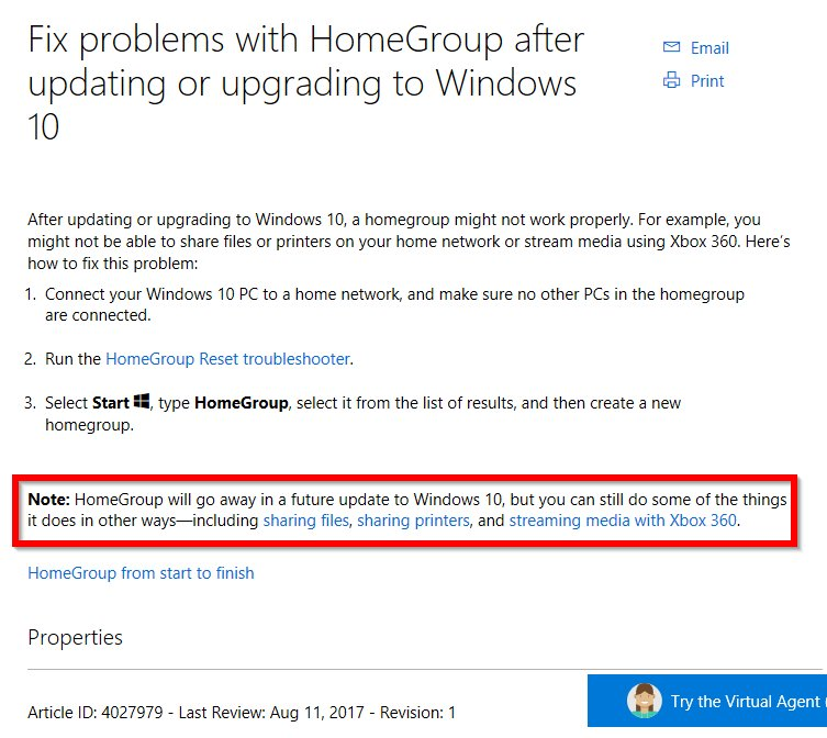 homegroup will not connect windows 10