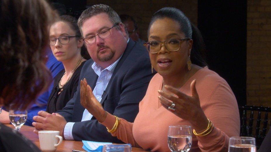 .@Oprah leads heated debate on @realDonaldTrump for first #60Minutes s...
