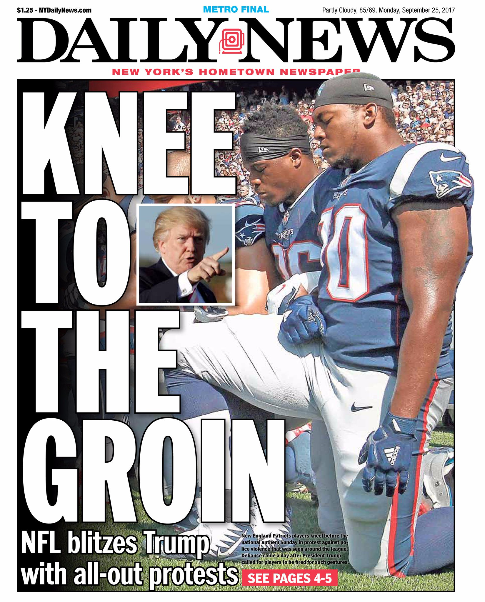 Kneel before Don! #TakeTheKnee  An early look at Monday's front page: https://t.co/lRb4BqRZOX https://t.co/adkcGlx48h