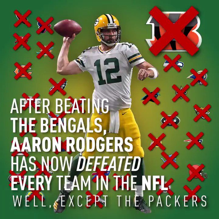 With the win over Cincy, Aaron Rodgers has now defeated every NFL team...