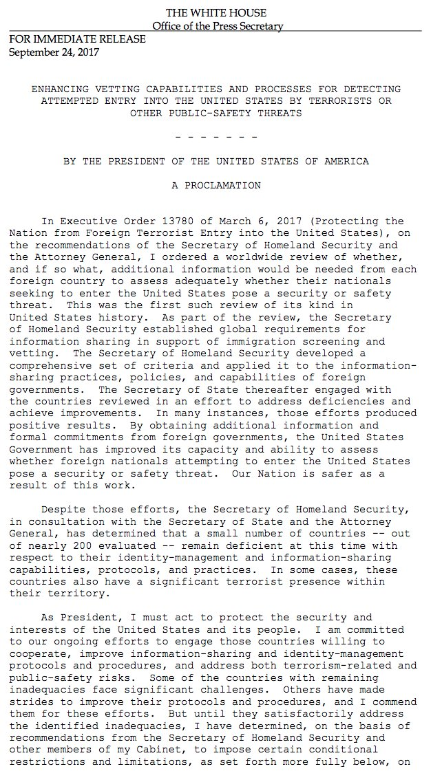 JUST IN: Pres. Trump has issued a Presidential Proclamation banning or restricting travel from eight countries. https://t.co/ThN60RFQ4d