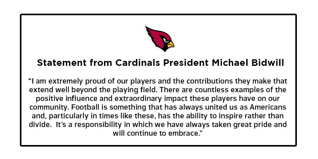 Statement from Cardinals President Michael Bidwill. https://t.co/IZ99p...