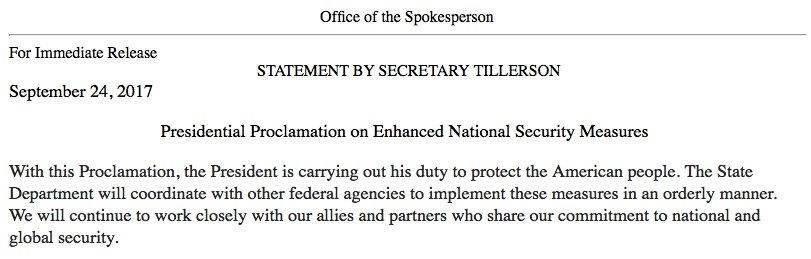 @ABC Tillerson on new travel ban:  'The President is carrying out his duty to protect the American people. 'https://t.co/sqAVdwgKVX  http
