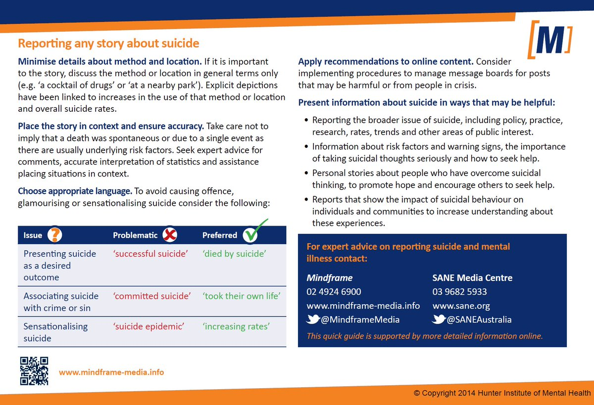 Guidelines &amp; resources available to assist with responsible reporting of #suicide  http:// bit.ly/1DVGQfc  &nbsp;    #suicideprevention<br>http://pic.twitter.com/57pHqF0Ef5