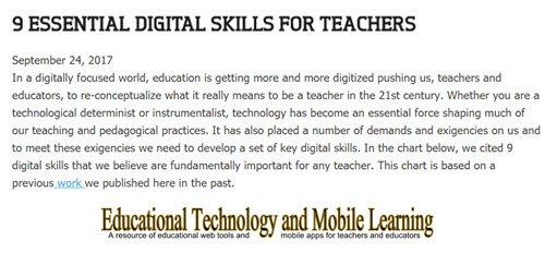 9 Essential #Digital Skills for #Teachers  https:// goo.gl/qyehh3  &nbsp;   #edtech #elearning #mlearning #EdApps #edtechchat #edtechbridge<br>http://pic.twitter.com/CcmygfyTCR