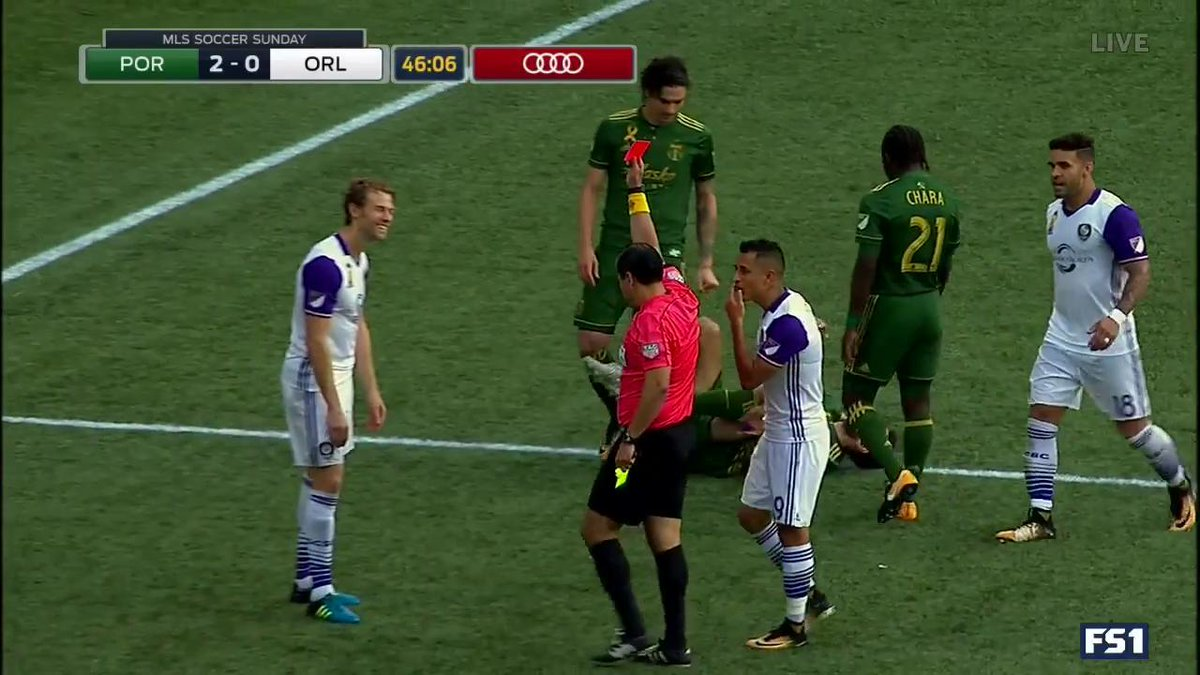 RED CARD! Spector receives his second yellow and is sent off. Orlando...