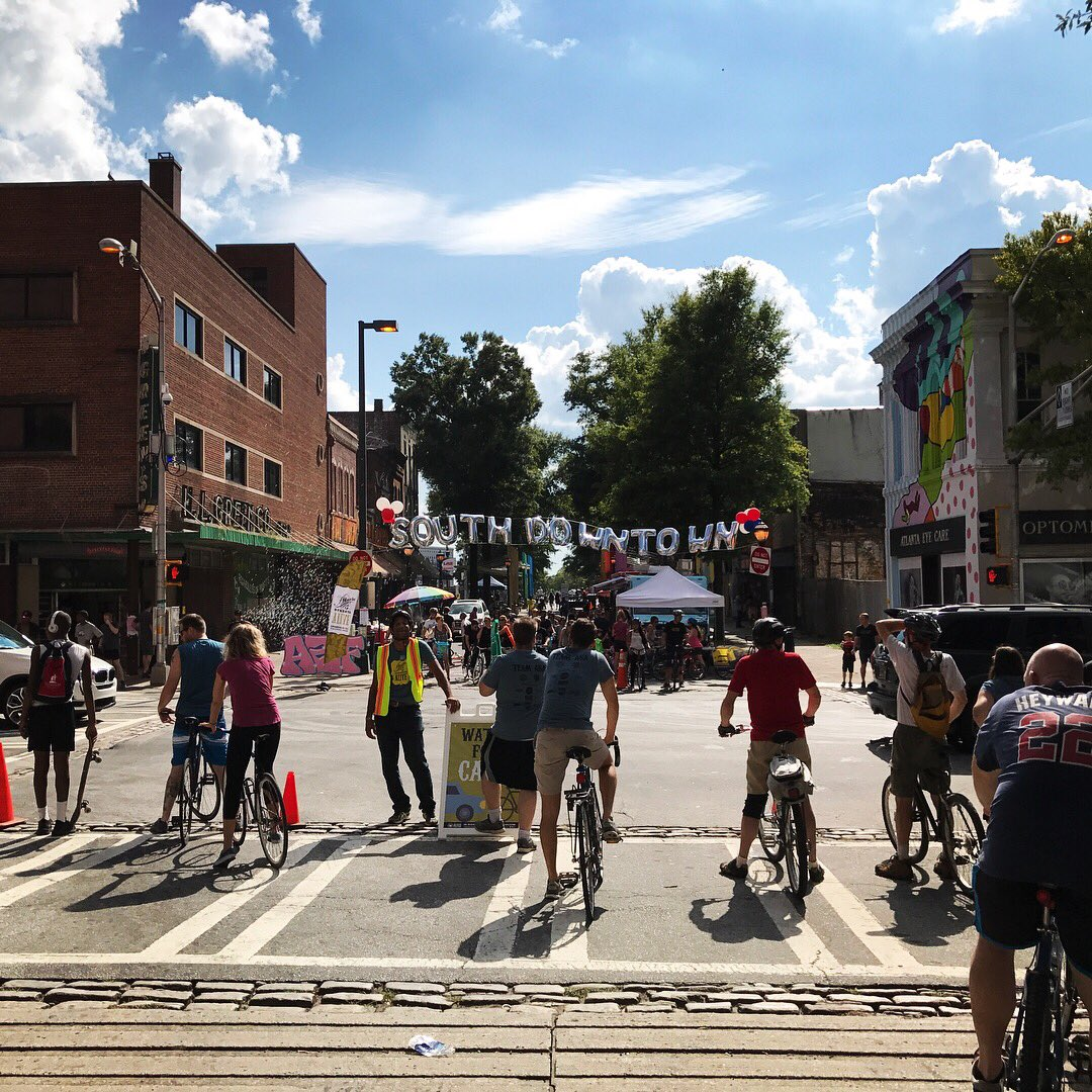 Here's a sampling of what went down in #SouthDowntown today for #AtlantaStreetsAlive. Thank you, Atlanta! #balloons #bikes #bands #buttons <br>http://pic.twitter.com/0I7dvQtw5o