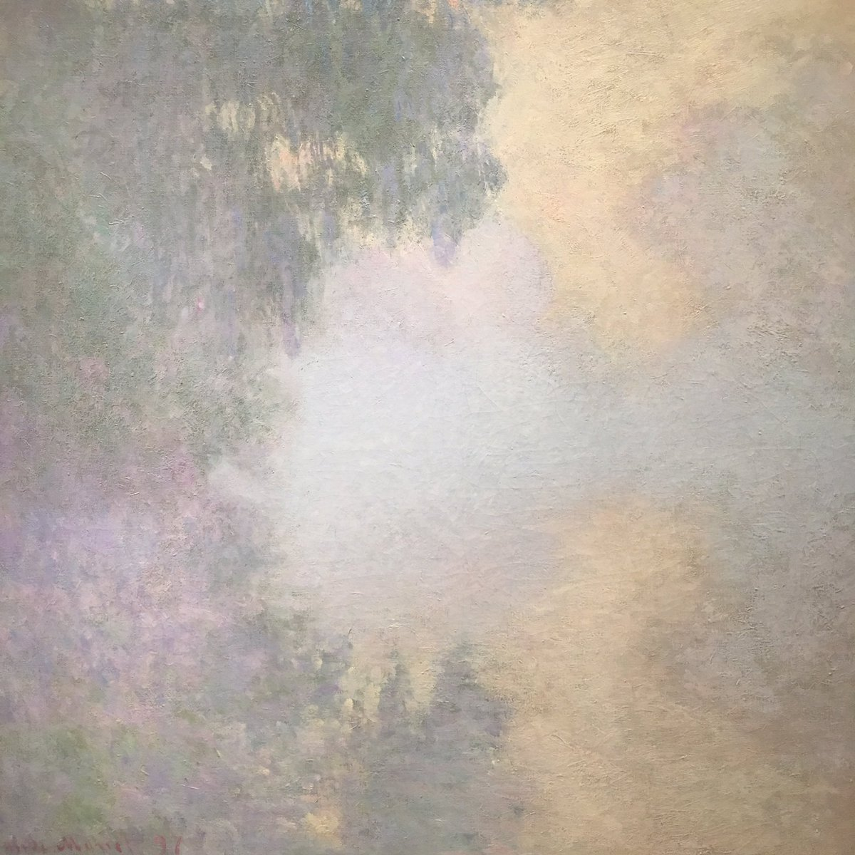 Staring at #monet for an hour. The actual real painting light on river near Giverney. So delicate &amp; diffused. #awe #light #mist #monet #gee<br>http://pic.twitter.com/h18L6f7pbm
