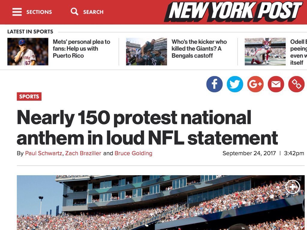 NO ONE is protesting the national anthem. https://t.co/tmN5jQrL07