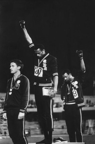 Forty-seven years after John Carlos and Tommie Smith's Black Power salute at the 1968 Olympics, We have #TakeAKnee https://t.co/GFlMd8j4qO