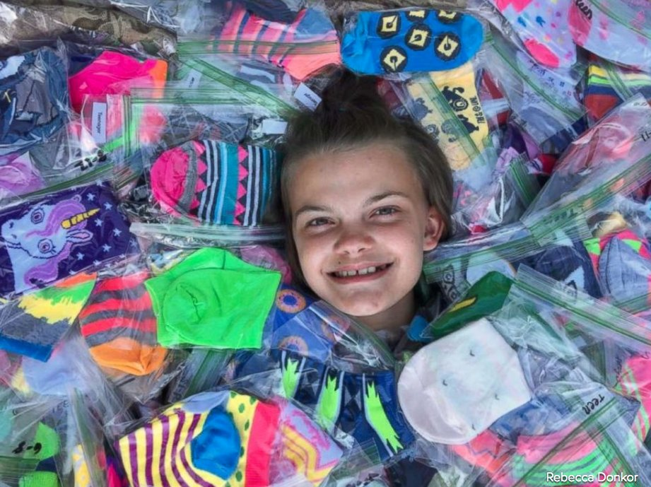 Girl collects more than 2,300 pairs of silly socks for fellow patients in hospital. 'It takes a special person.' https://t.co/3t0ulUn0tl