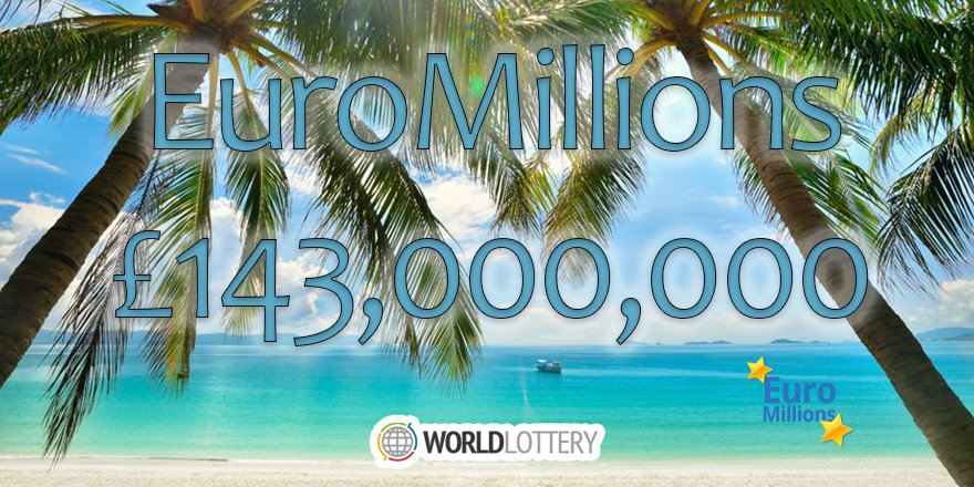 The #EuroMillions jackpot has gone up to a HUGE £143,000,000 ahead of tomorrow&#39;s draw!  PLAY NOW →  http://www. worldlottery.net/euromillions-l ottery &nbsp; …  #MondayMotivation<br>http://pic.twitter.com/8F0cyQnnX7