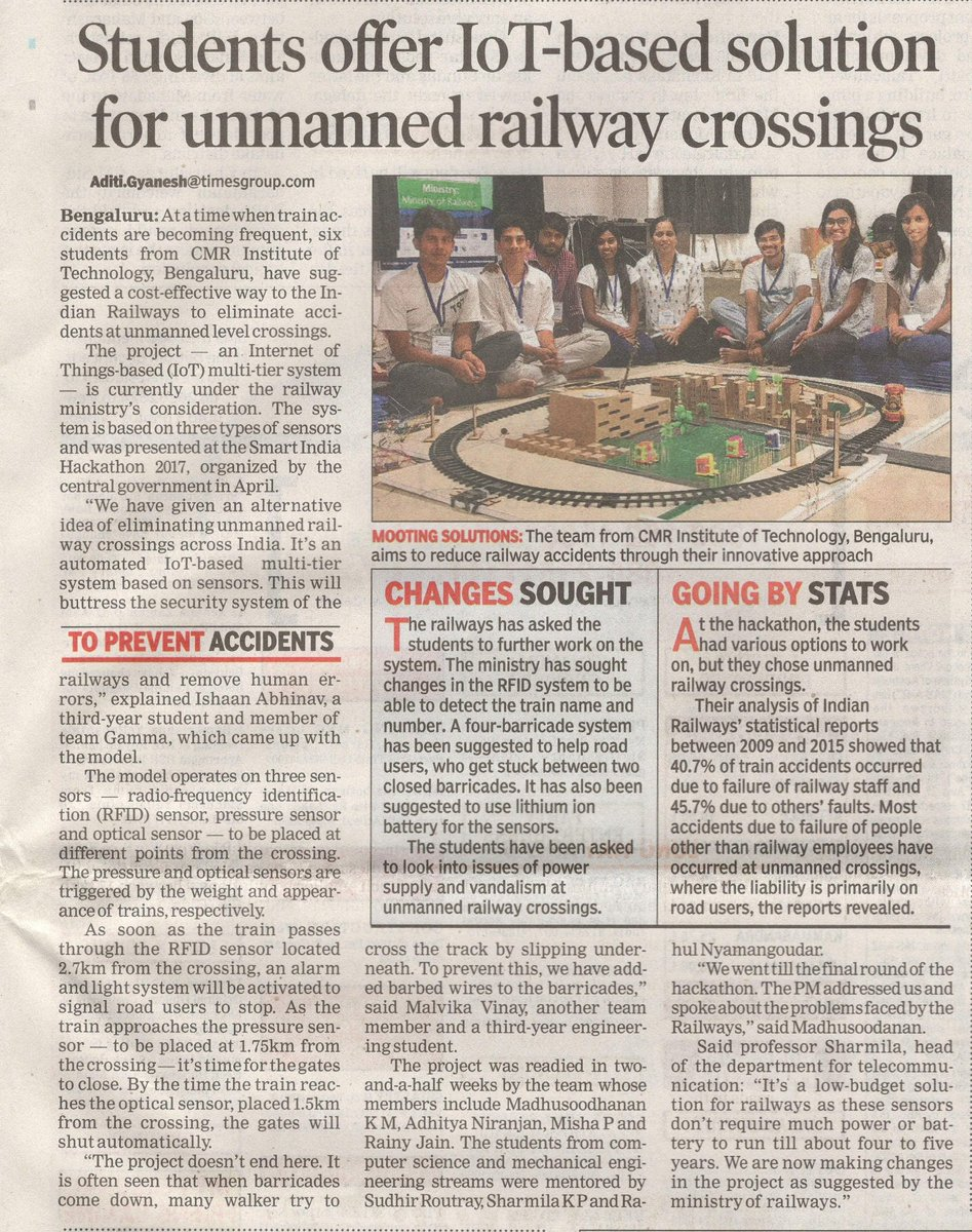 #CMRIT students offer IOT solution for unmanned railway station. Read on @timesofindia #studentlife #engineering #research #highereducation <br>http://pic.twitter.com/r82Y7i3OpF