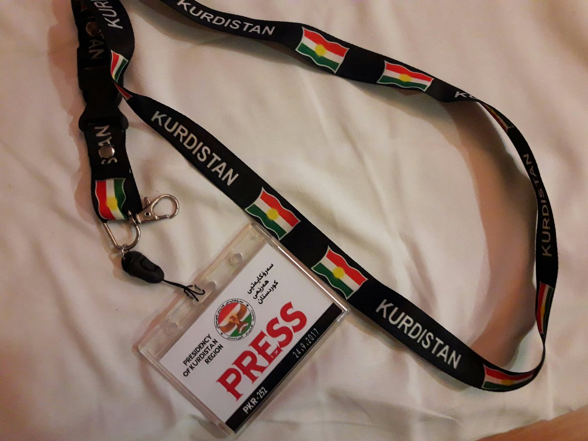 we had to give this back after the #barzani #press conference. me and austrian colleague to man collecting them: &#39;no way!&#39; he smiled :-) <br>http://pic.twitter.com/DT3yQ2MSC3