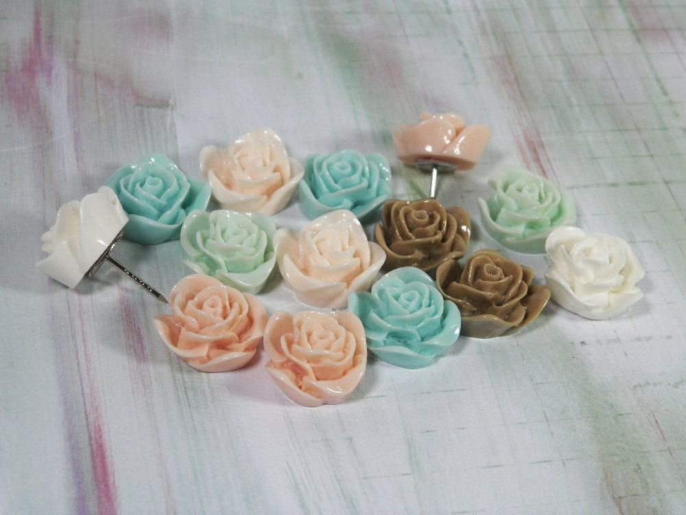 Decorative Rose Push Pins, Set of 6 or 12, In 2 Lengths -1…  http:// etsy.me/2rfesKR  &nbsp;   #decorativeknobs #ExtraLongTacks<br>http://pic.twitter.com/clhfSB66it