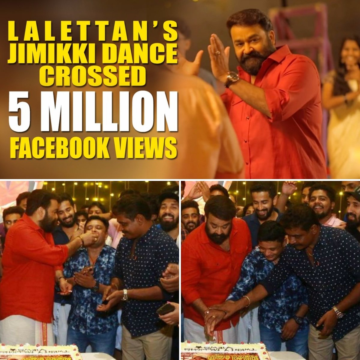 Antony chettan held my hand and asked me to cut the cake @Mohanlal  sir giving me the 1st byte with his kind words 'THIS SUCCESS GOES TO U'