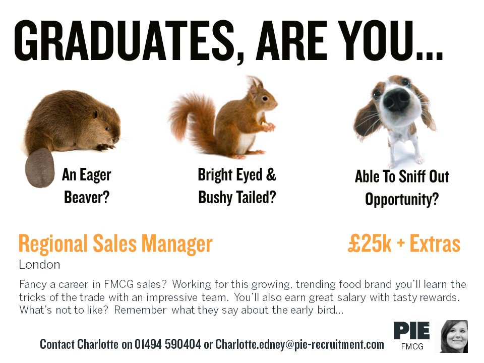We&#39;re looking for eager beaver #Graduates  keen to learn all the tricks of the #Food trade! Call Us to find out more - 01494 590404 #FMCG <br>http://pic.twitter.com/Z1aERNKlNR
