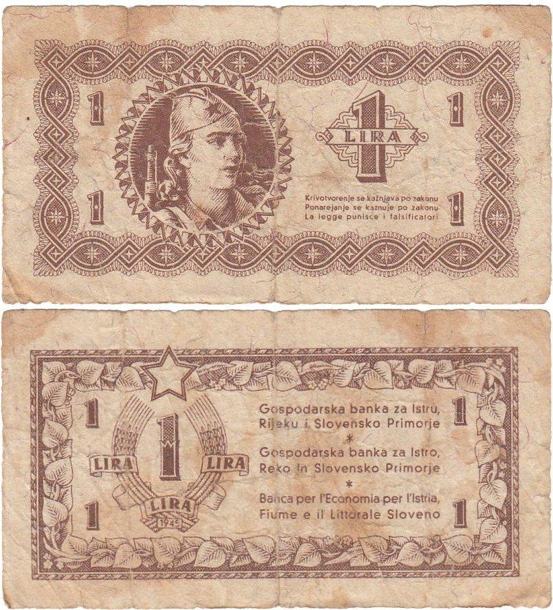 #YUGOSLAVIA Istria Fiume Slovenia 1 lira 1945 F. Buy it now: http://cbm-store.com/product/yugoslavia-istria-fiume-slovenia-1-lira-1945-f-3/ ...