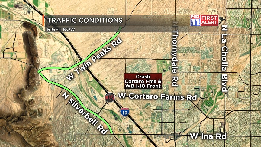 #CRASH: New crash at your WB I-10 frontage at Cortaro Fms. Use Twin Peaks/Silverbell as alternates here. #Tucson<br>http://pic.twitter.com/it32i1d1Pb
