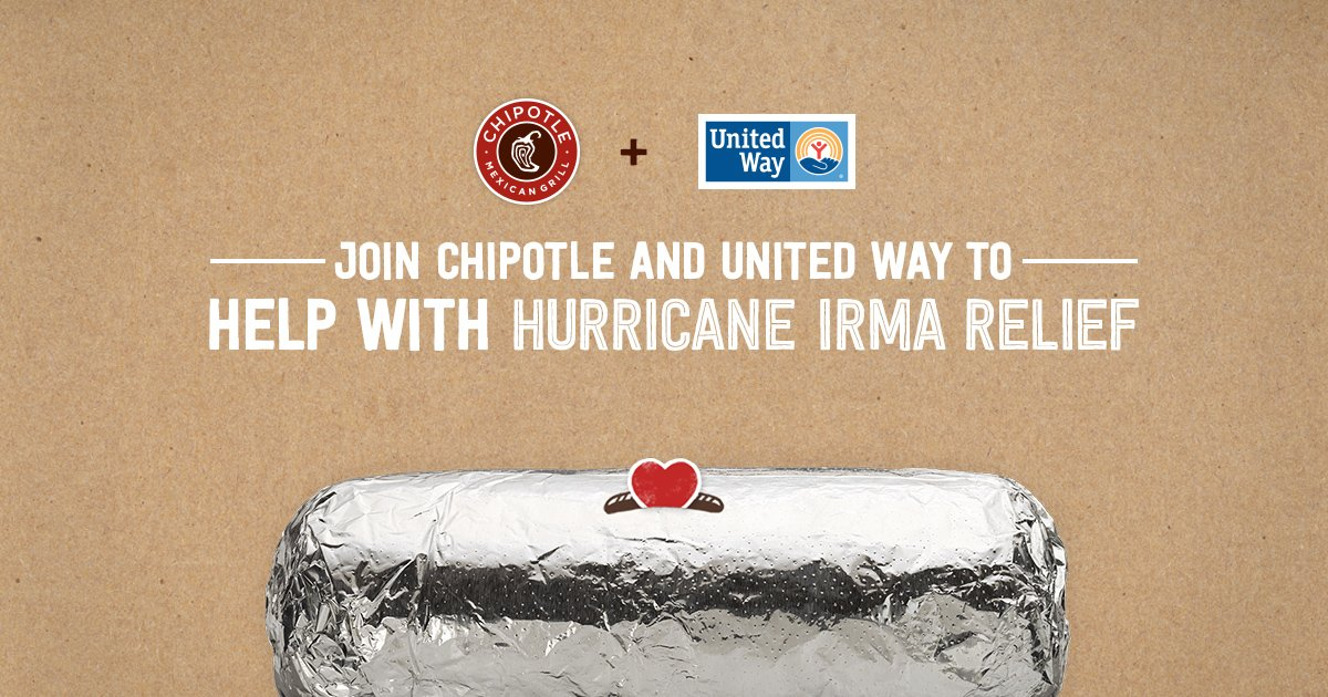 Here&#39;s some #MondayMotivation! Go to any FL Chipotle today and 50% of purchase price goes to @UnitedWay Irma Recovery Fund. #IrmaRecovery <br>http://pic.twitter.com/LOQhNRVOnU