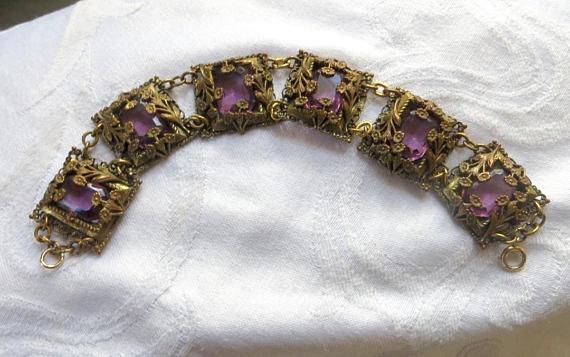 Art Nouveau Czech Bracelet, Floral Filigree, Emerald Cut Amethyst Glass Stones #jewelry #antiques #fashion #home #garden #follow #vintage<br>http://pic.twitter.com/Pw3NfdUYQy