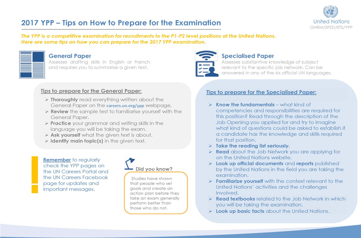 """UN Careers on Twitter: """"Preparing for the YPP exam? Check out these study  tips!… """""""