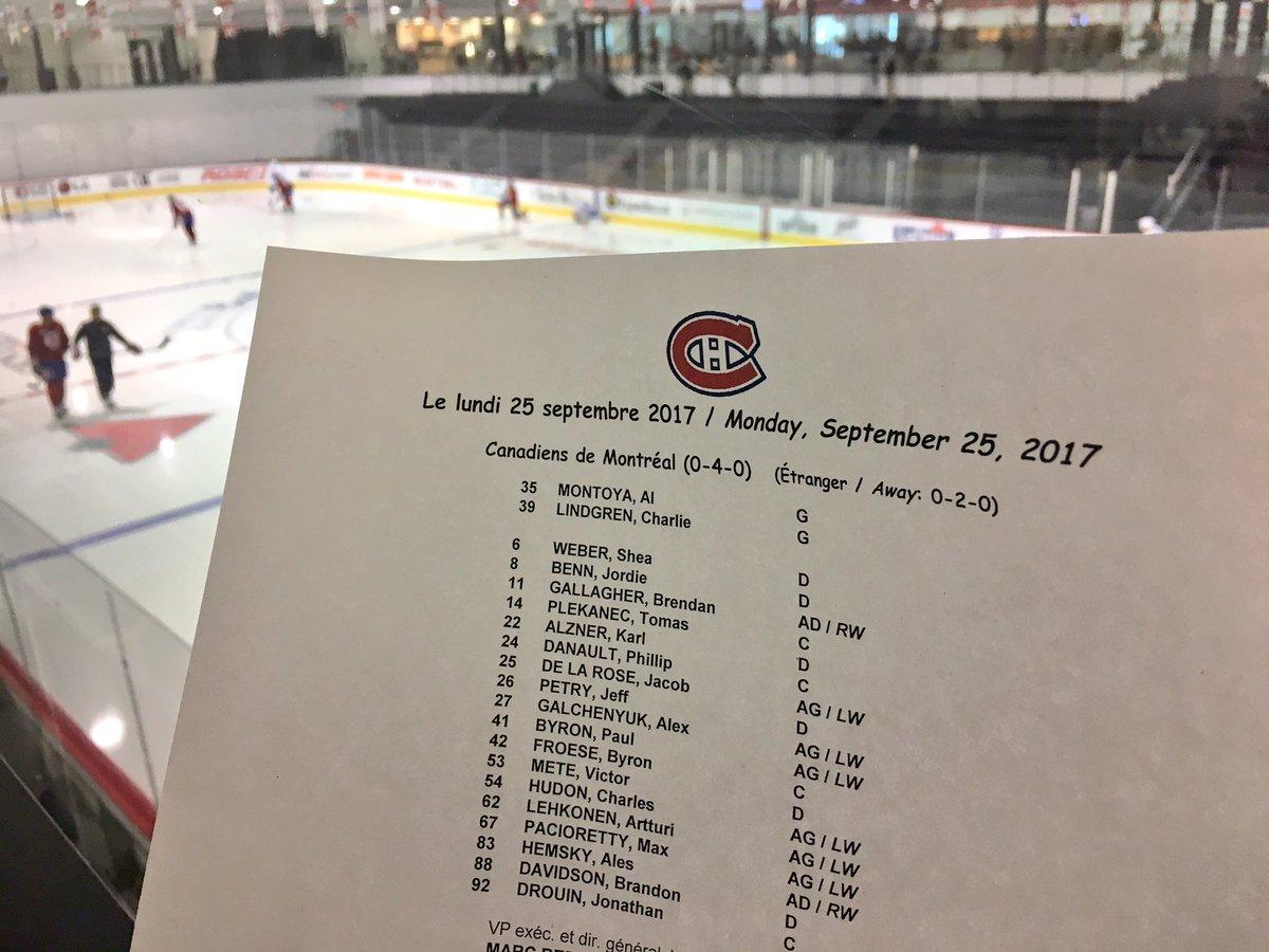 La formation pour le match de ce soir face aux Maple Leafs / Tonight's...