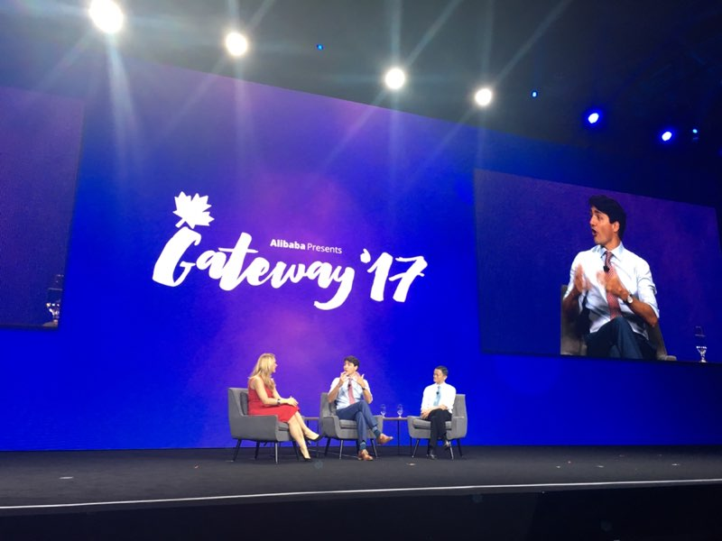 Jack Ma, @JustinTrudeau and @MicheleRomanow at the #Gateway17 fireside...