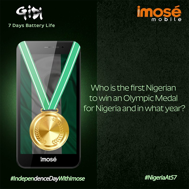 Who is the 1st Nigerian to win an Olympic Medal for Nigeria &amp; in what year? #RT &amp; #LIKE.  #IndependenceDayWithImose<br>http://pic.twitter.com/sVmAiLHI87