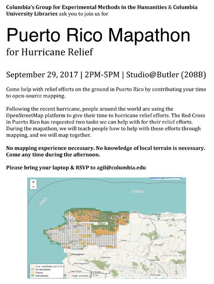 Contribute to #PuertoRicoRelief through #opensource mapping. No experience necessary! RSVP: agil@columbia.edu cc: @elotroalex<br>http://pic.twitter.com/1TDcfq4tgX