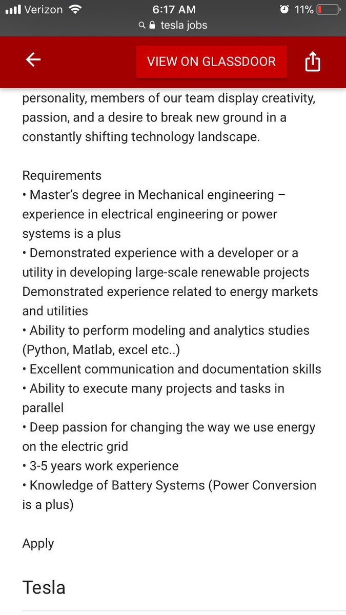 Nilanjan Mishra On Twitter Elonmusk A Manager Job At Tesla The First Requirement Is Masters Degree In Mechanical Engineering
