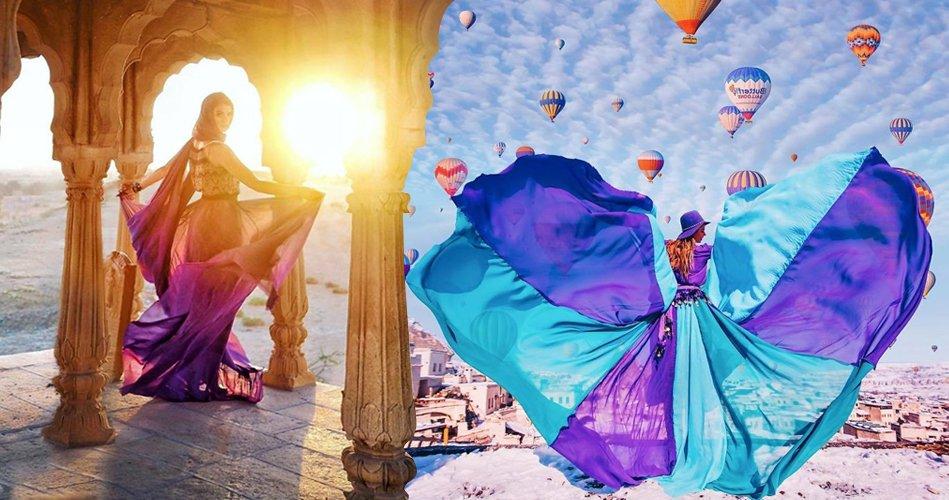 Elbiselerini dünyayı gezerek tanıtıyor (...
