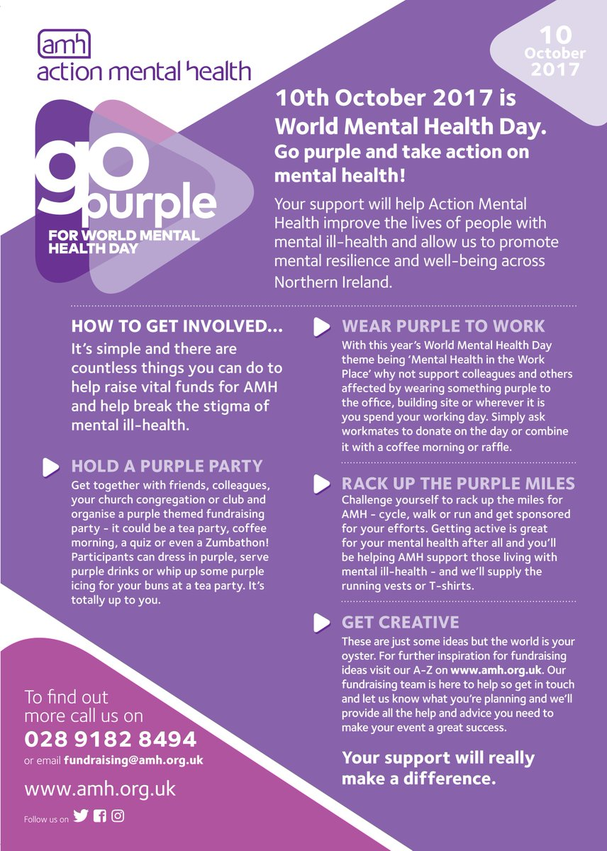 volunteer now on twitter 10th october is world mental day go purple and get involved to support amhni httpstcoirrzzavyxp