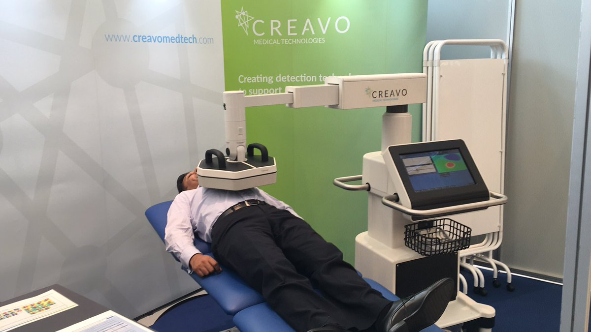 07395bff The @Creavo booth with the magnetocardiogram. Could it be the future of  early ACS rule out? See ePoster session 6 on Wed for more!