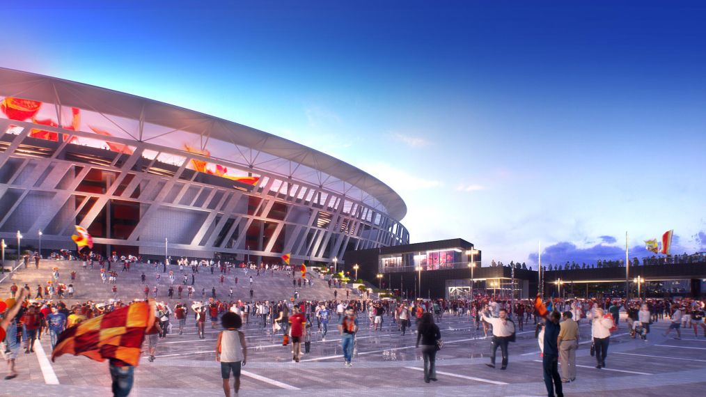 Groundbreaking at new @ASRomaEN stadium to take place in 2018. Hopefully. Maybe. Fingers crossed anyway! #SerieA  http:// stadiumdb.com/news/2017/09/r ome_as_roma_construction_no_sooner_than_2018 &nbsp; … <br>http://pic.twitter.com/Eo8zazFlFO