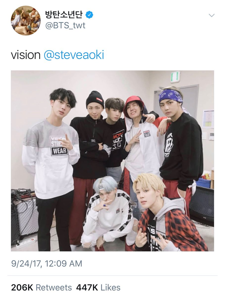 My brothers @BTS_twt reppin @Vision_Clothes
