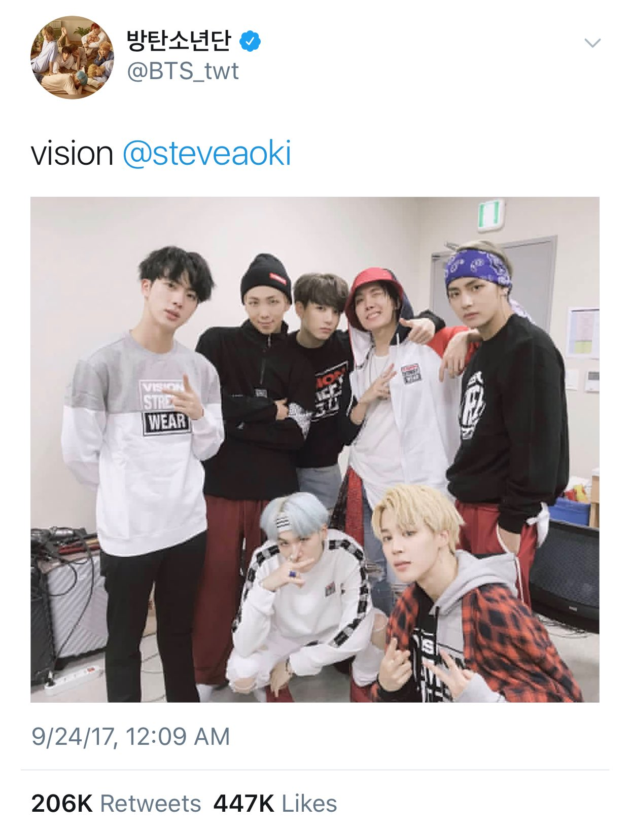 My brothers @BTS_twt reppin @Vision_Clothes https://t.co/QB3kAuhfZe