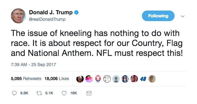 Trump: NFL 'must respect' the national anthem https://t.co/OCG8wvJv6k