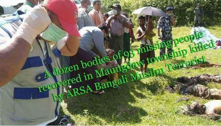 25,9,2017.3:30pm,14 hindus dead bodys found.#ARSA is genociding ethic minority.Myanmar is defending itself,#UN #BURMA #ARSA<br>http://pic.twitter.com/B7GRdXmGtG