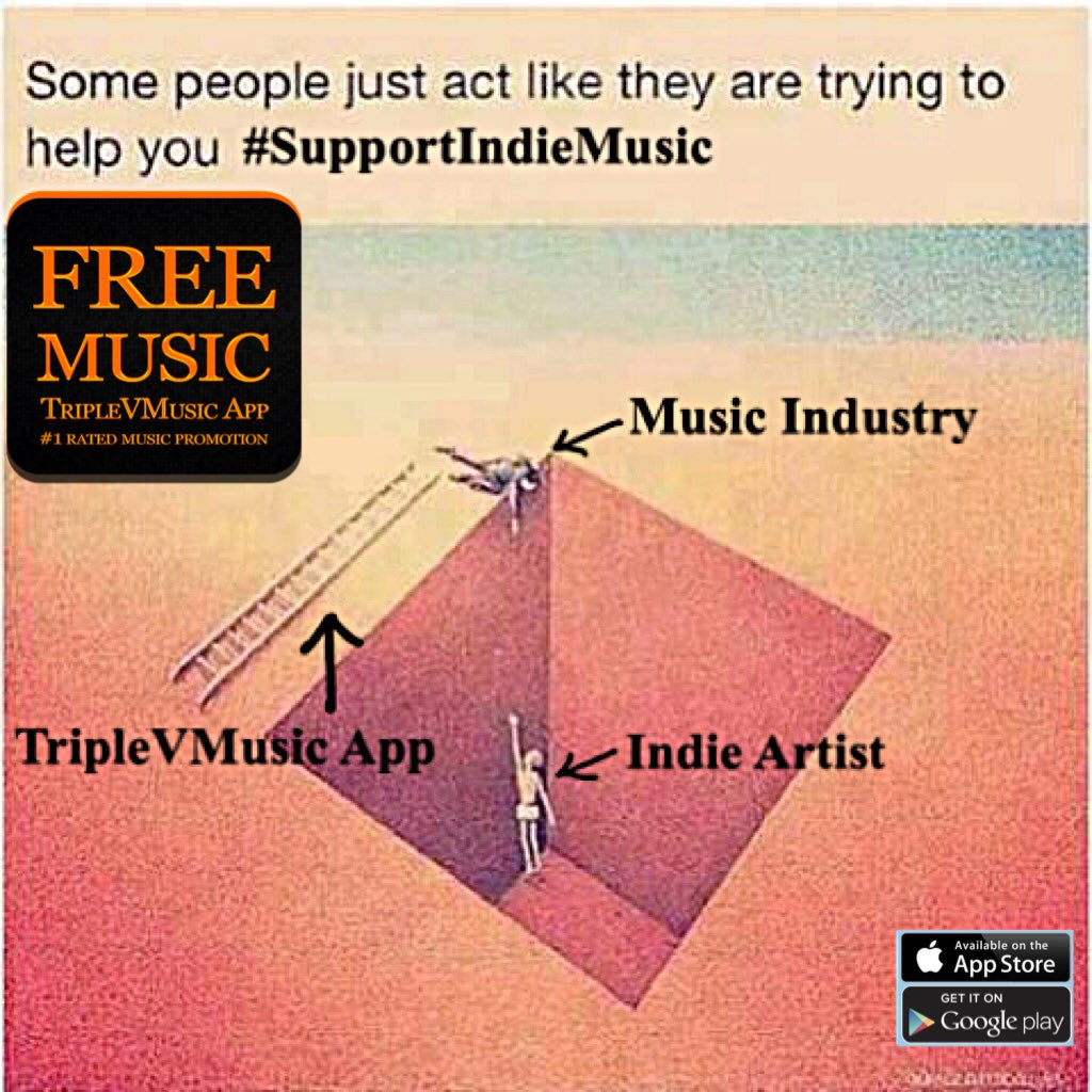 RT &amp; LIKE @TripleVMusic App  loves to help indie music artists, please FOLLOW US!!! #MusicMonday #mondaymotivation #MOTIVATIONMONDAY <br>http://pic.twitter.com/ZbgBos6FhF