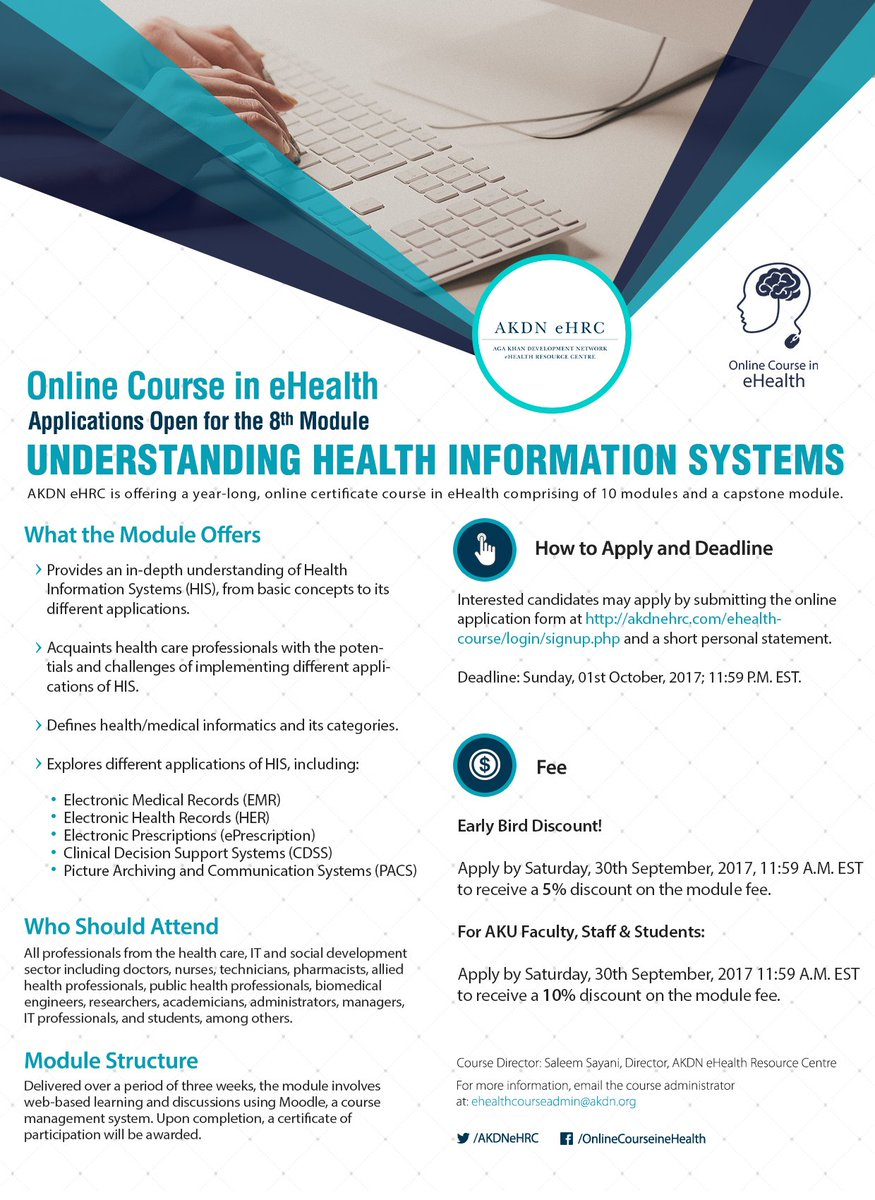 Register for Module 8, Understanding #Health #Information Systems, of the Online #Course in #eHealth.   http:// bit.ly/2mQ0JoF  &nbsp;  <br>http://pic.twitter.com/UwlybNFfCh