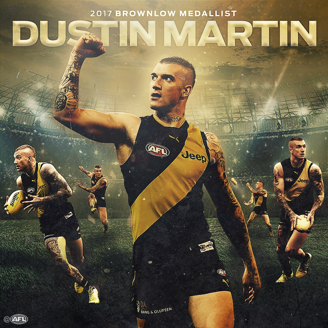 Afl On Twitter Dustin Martin Is The 2017 Brownlow Medallist Winner Polling A Record 36 Votes