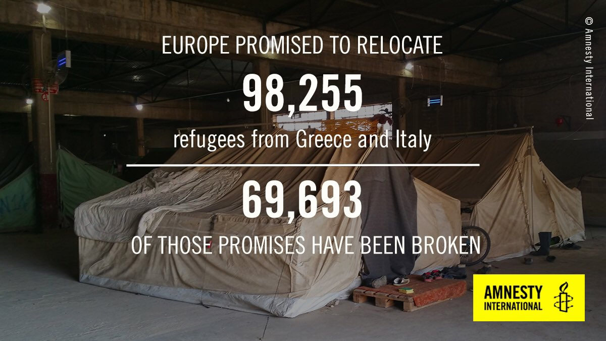 2015: European states promise to relocate 98k #refugees from #Greece &amp; #Italy. 2017: they&#39;ve relocated around 30k  https://www. amnesty.org/en/latest/news /2017/09/eu-countries-have-fulfilled-less-than-a-third-of-their-asylum-relocation-promises/ &nbsp; … <br>http://pic.twitter.com/VgotL9s8Gu