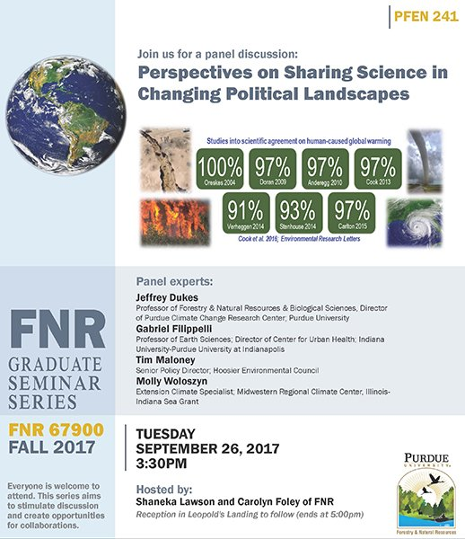 Join FNR panel discussion: Sharing Science in Changing Political Landscapes 9/26. @PGSGinfo @PurdueCCRC @PurdueEAPS #climatechange #research <br>http://pic.twitter.com/HEexs4OMDg