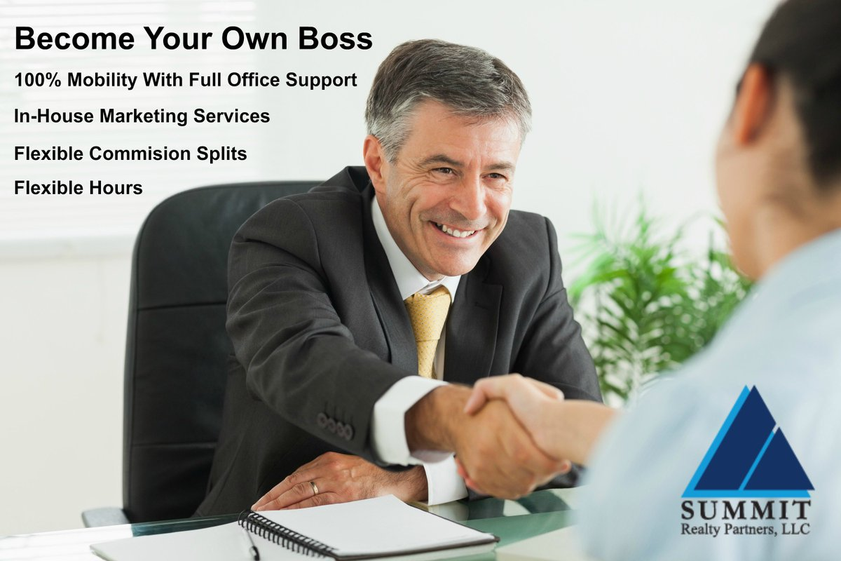 Want to become your own boss? Become a Summit Realty Partners agent today! More info at  http://www. summitrealtyjax.com/content/real-e state-career-jacksonville-florida &nbsp; …  #RealEstateAgent <br>http://pic.twitter.com/MVqq1R7HA4